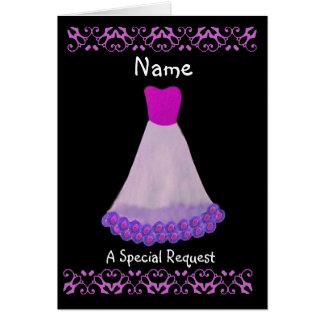 CUSTOM NAME - Bridesmaid Purple and White Dress Cards
