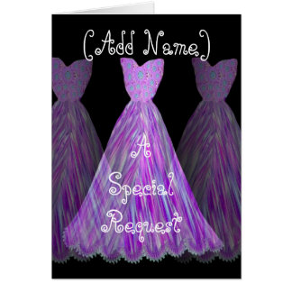 CUSTOM NAME - Bridesmaid PURPLE FLAME Dress Card