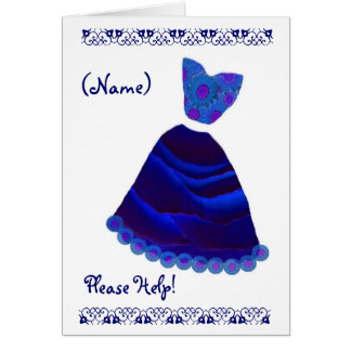 CUSTOM NAME Bridesmaid Royal Blue and Purple Greeting Cards