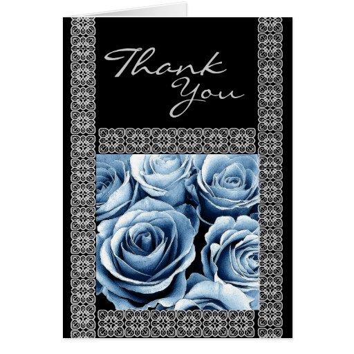 CUSTOM NAME - Bridesmaid Thank You ICE BLUE Roses Greeting Card