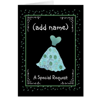CUSTOM NAME - Bridesmaid TURQUOISE Flowered Dress Cards