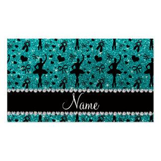 Custom name bright aqua glitter ballerinas business card templates
