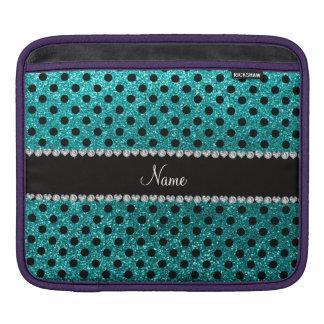 Custom name bright aqua glitter black polka dots sleeve for iPads