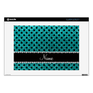 "Custom name bright aqua glitter black polka dots skin for 13"" laptop"