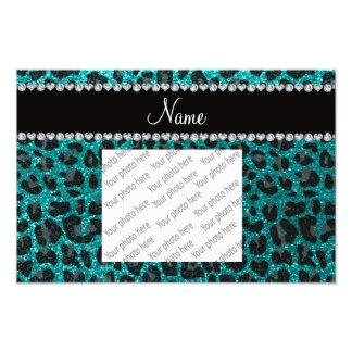 Custom name bright aqua glitter leopard print photo print