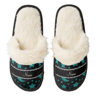 Custom name bright aqua glitter stars and moons pair of fuzzy slippers