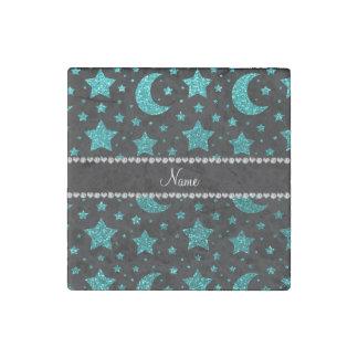 Custom name bright aqua glitter stars and moons stone magnet