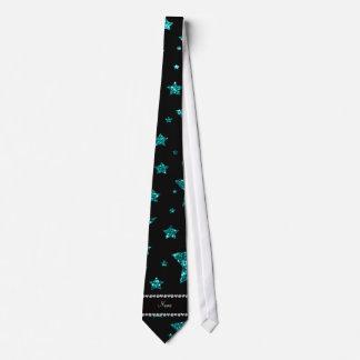 Custom name bright aqua glitter stars and moons tie