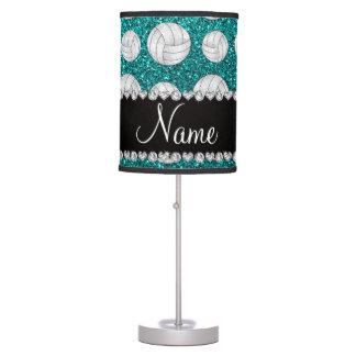 Custom name bright aqua glitter volleyballs desk lamp