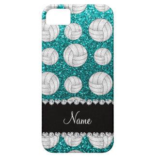Custom name bright aqua glitter volleyballs iPhone SE/5/5s case