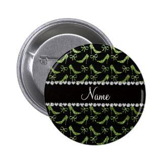 Custom name bright green glitter high heels bow pins
