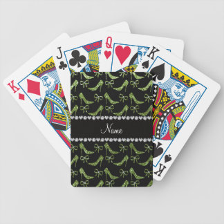Custom name bright green glitter high heels bow bicycle playing cards