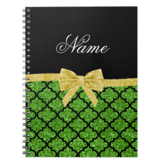 Custom name bright green glitter moroccan gold bow spiral note book