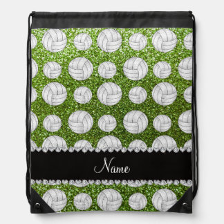 Custom name bright green glitter volleyballs drawstring backpack