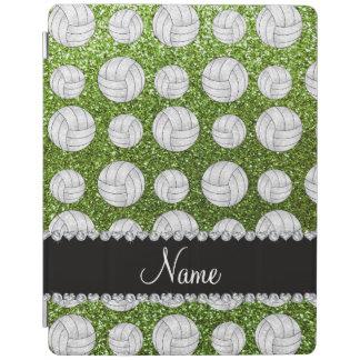 Custom name bright green glitter volleyballs iPad cover