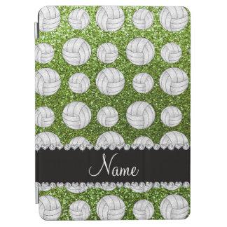 Custom name bright green glitter volleyballs iPad air cover