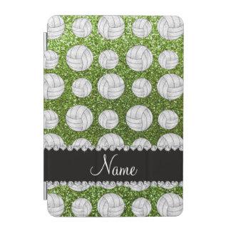 Custom name bright green glitter volleyballs iPad mini cover