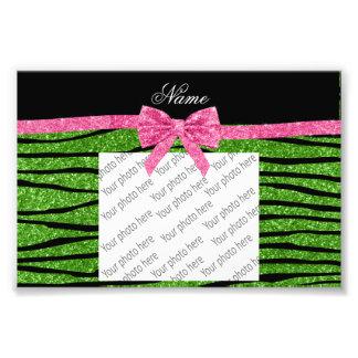Custom name bright green glitter zebra stripes bow photograph