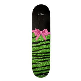 Custom name bright green glitter zebra stripes bow skate deck