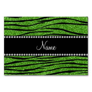Custom name bright green glitter zebra stripes card