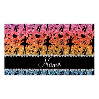 Custom name bright rainbow glitter ballerinas business cards