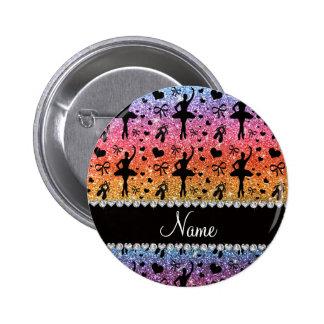 Custom name bright rainbow glitter ballerinas pinback buttons