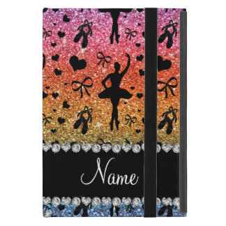 Custom name bright rainbow glitter ballerinas iPad mini case