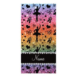 Custom name bright rainbow glitter ballerinas picture card