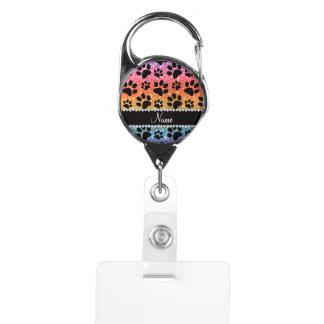 Custom name bright rainbow glitter black dog paws badge holder