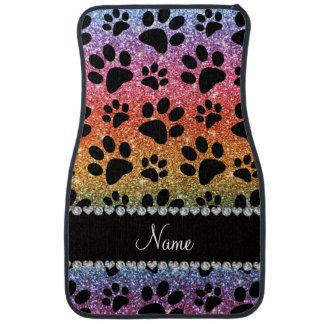 Custom name bright rainbow glitter black dog paws car mat