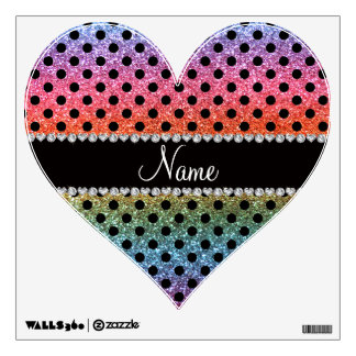 Custom name bright rainbow glitter black polka dot wall sticker
