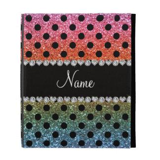 Custom name bright rainbow glitter black polka dot iPad cases