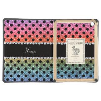 Custom name bright rainbow glitter black polka dot iPad air covers