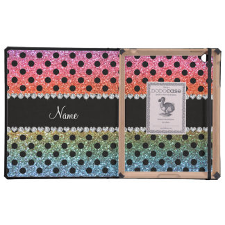 Custom name bright rainbow glitter black polka dot iPad case
