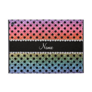 Custom name bright rainbow glitter black polka dot iPad mini covers