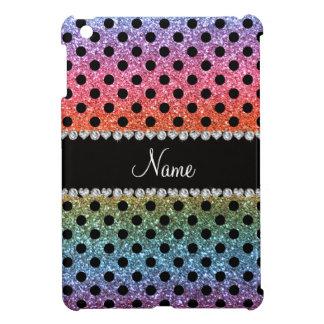 Custom name bright rainbow glitter black polka dot iPad mini cases