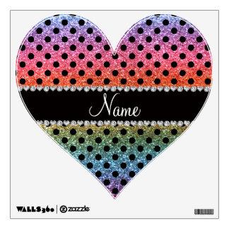 Custom name bright rainbow glitter black polka dot wall decal