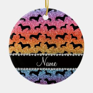Custom name bright rainbow glitter dachshunds ceramic ornament