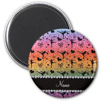 Custom name bright rainbow glitter figure skating 2 inch round magnet