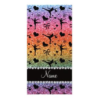 Custom name bright rainbow glitter figure skating photo greeting card