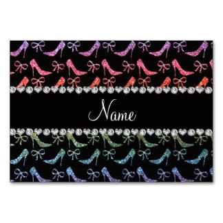 Custom name bright rainbow glitter high heels bow card