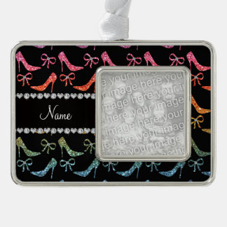 Custom name bright rainbow glitter high heels bow silver plated framed ornament