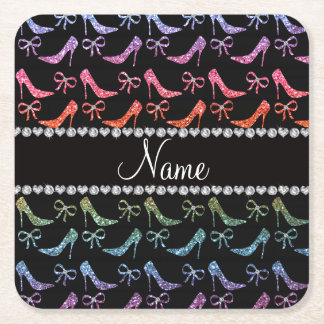 Custom name bright rainbow glitter high heels bow square paper coaster