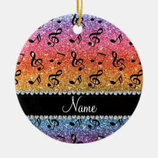 Custom name bright rainbow glitter music notes ceramic ornament