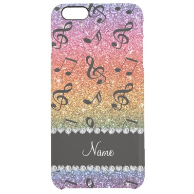 Custom name bright rainbow glitter music notes clear iPhone 6 plus case
