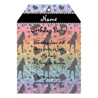 Custom name bright rainbow glitter shopping girl 5x7 paper invitation card