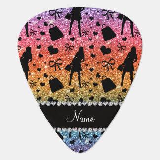 Custom name bright rainbow glitter shopping girl guitar pick