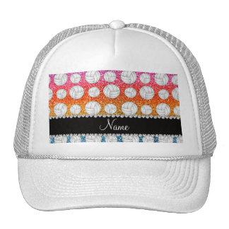 Custom name bright rainbow glitter volleyball trucker hat