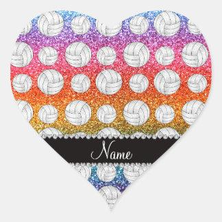 Custom name bright rainbow glitter volleyball heart sticker