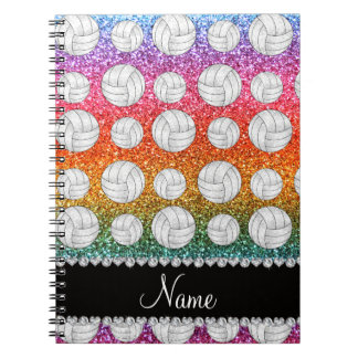 Custom name bright rainbow glitter volleyball notebook